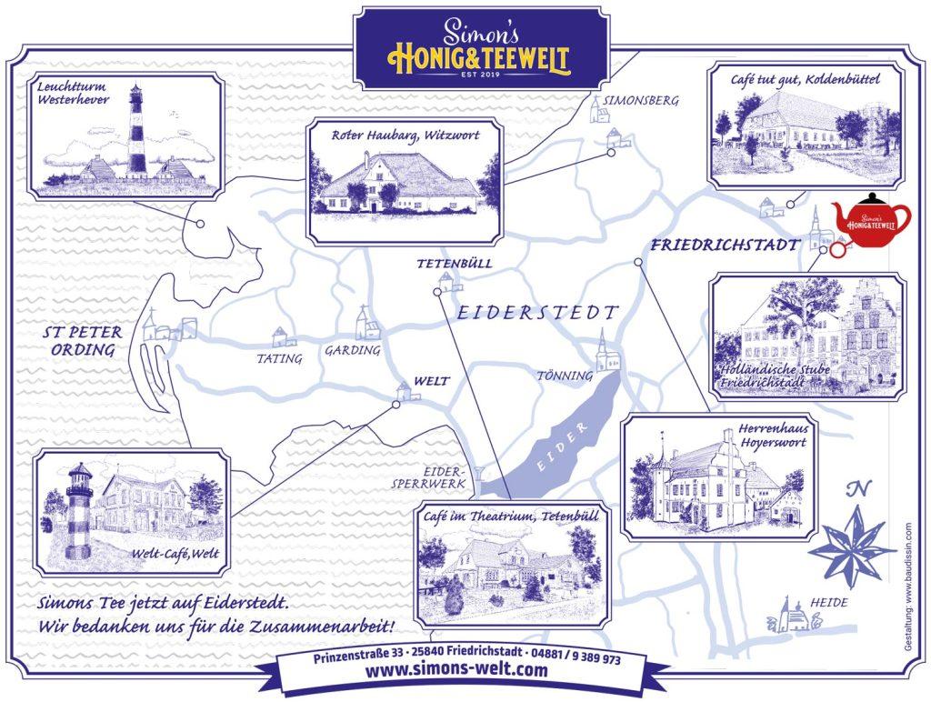 Illustration: Landkarte mit den Ausflugszielen